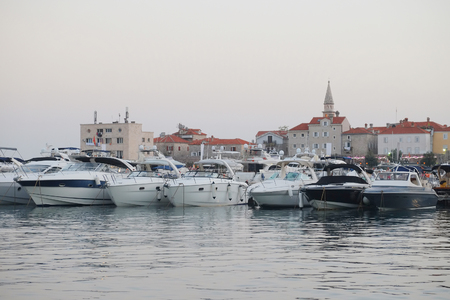 budva: Boats in the harbour in Budva, Montenegro
