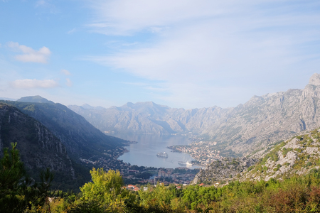 ridge of wave: landscape with sea and mountains in Kotor, Montenegro