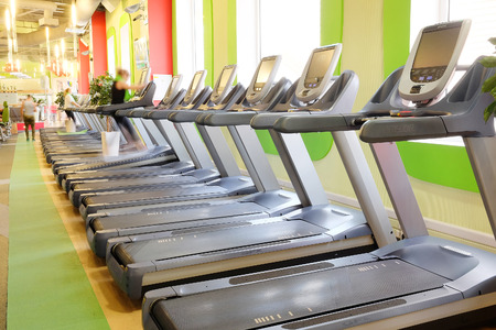 wight: Moscow, Russia, October, 7, 2015: interior of a modern fitness hall in Moscow. Today fitness centers are very popular with Muscovites