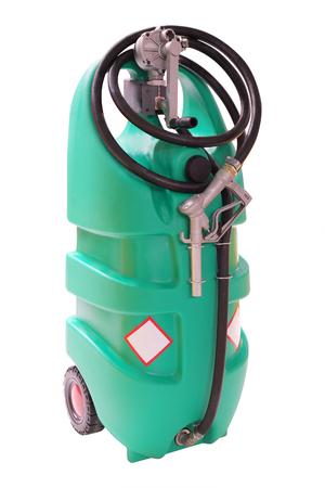 surtidor de gasolina: Bomba de gasolina de pl�stico m�vil aislado en el fondo blanco Foto de archivo