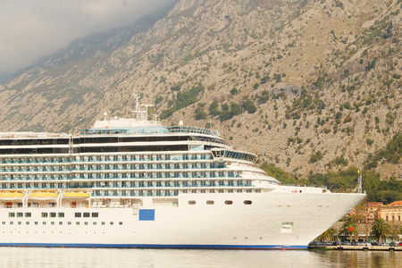 cruise liner: Kotor, Montenegro, November, 16, 2015: Cruise liner in Kotor, Montenegro