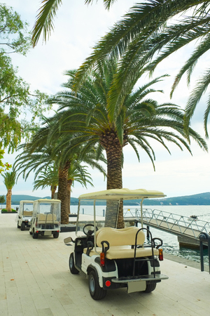electric automobile: Tivat, Montenegro, October, 6, 2015: Electric automobile on Tivat embankment, Montenegro