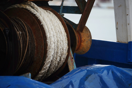 net trade: The image of professional fishing equipment on board the ship Stock Photo