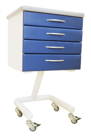 emergency cart: Blue medical table