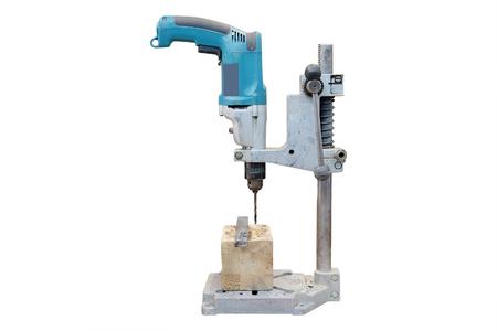 woodworking: wood-working boring machine under the white background