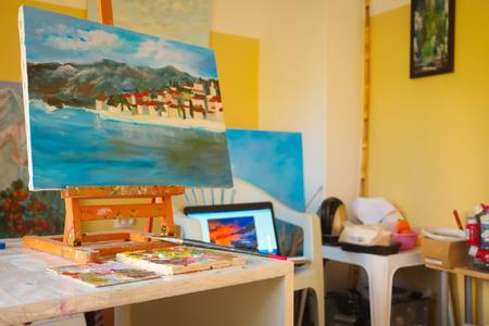creative artist: Interior of a painter workshop Stock Photo