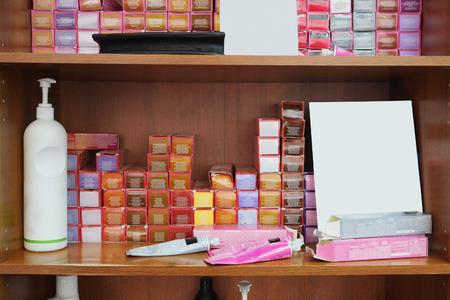 hair dye: Hair dye on the shelf at the beauty salon Stock Photo