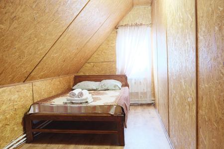 bedspread: Interior of a hotel bedroom Stock Photo