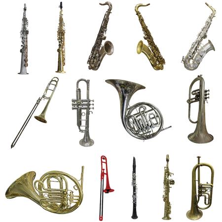 orquesta clasica: saxof?n aislados, en el fondo blanco Foto de archivo