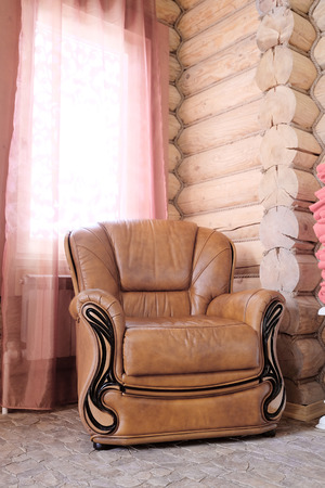 leather chair: Brown leather chair Stock Photo