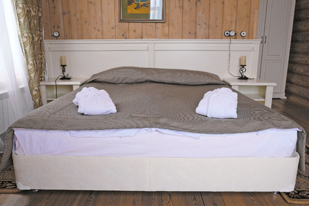 bedstead: Bedroom in a country house Stock Photo