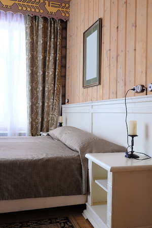 counterpane: Bedroom in a country house Stock Photo
