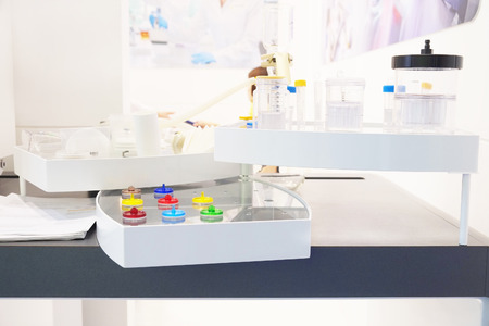 sample tray: Insert blood tubes in a lab