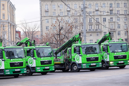 parking violation: Moscow, Russia, December, 30, 2015: Cars tow on the street of Moscow