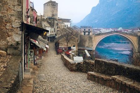Bosnia, Mostar, January, 5, 2016: The street of Mostar, Bosnia