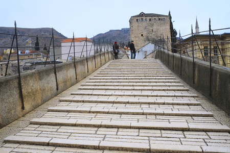 mostar: Mostar, Bosnia, January, 3, 2016: The streat of Mostar, Bosnia