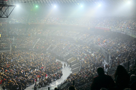 il: Roma, Italy, January, 16, 2016: the spectator hall during Il Volo concert in Roma, Italy Editorial