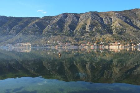 ridge of wave: The image of Kotor bay, Montenegro Stock Photo
