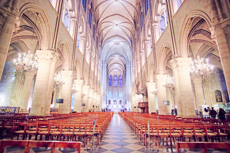 to confess love: Paris, France, February 6, 2016: interior of Notre Dame de Paris, one of the Paris simbols