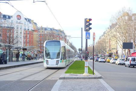 motor de carro: Paris, France, February 6, 2016: tram on the street of Paris, France Editorial