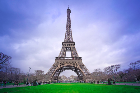 tower house: Paris, France, February 8, 2016: Eiffel tower, Paris, France - one of the simbols of this city