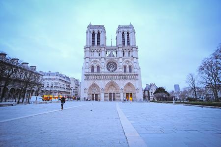 simbols: Paris, France, February 6, 2016: Notre Dame de Paris, one of the Paris simbols
