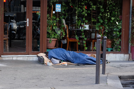homeless people: Paris, France, February 11, 2016: homeless people in a center of Paris, France. Editorial