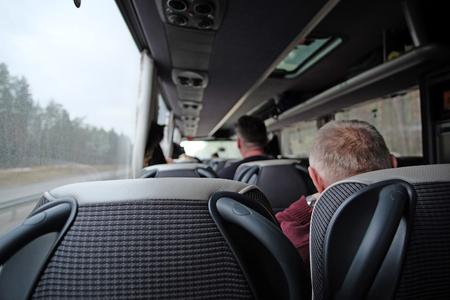 inter: Interior of a touristic bus Stock Photo