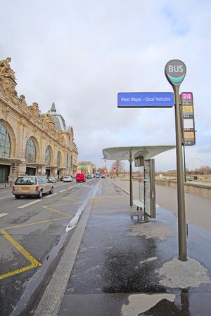 motor de carro: Paris, France, February 8, 2016: Bus station in Paris, France Editorial