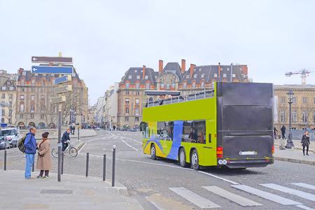 motor de carro: Paris, France, February 6, 2016: Bus on the street of Paris, France Editorial