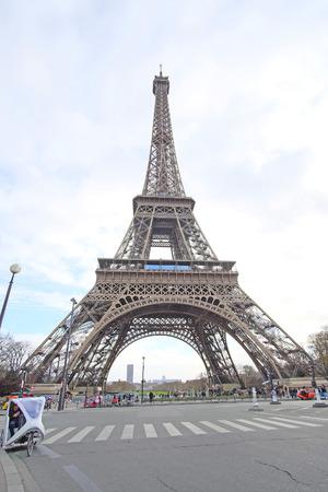 simbols: Paris, France, February 8, 2016: Eiffel tower, Paris, France - one of the simbols of this city