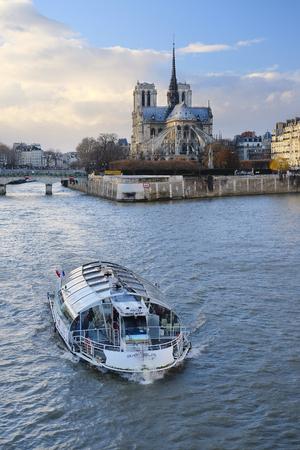 simbols: Paris, France, February 8, 2016: Notre Dame de Paris, one of the Paris simbols