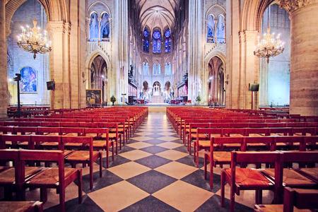 simbols: Paris, France, February 6, 2016: interior of Notre Dame de Paris, one of the Paris simbols