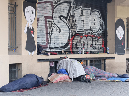 raggedy: Paris, France, February 11, 2016: homeless people in a center of Paris, France. Editorial