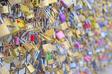 paris france: Paris, France, February 7 , 2016: Archbishops Bridge in Paris, France, covered with love locks.