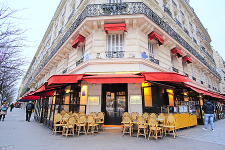 street cafe: Paris, France, February 7, 2016: street cafe in Paris, France