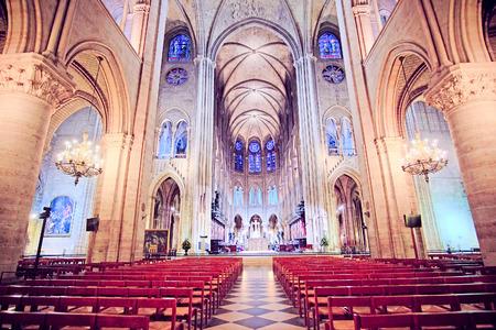 love dome: Paris, France, February 6, 2016: interior of Notre Dame de Paris, one of the Paris simbols