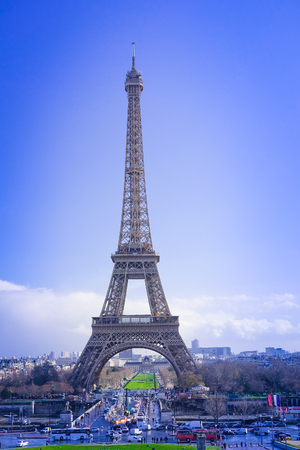 paris france: Paris, France, February 8, 2016: Eiffel tower, Paris, France - one of the simbols of this city