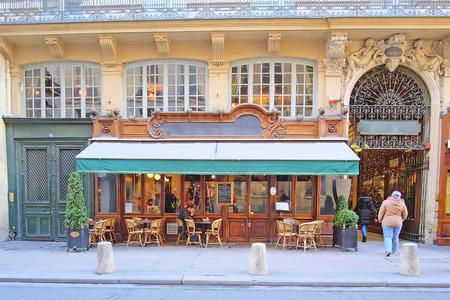 Paris, France, February 9, 2016: street cafe in Paris, France