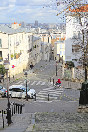 veiw: Paris, France, February 7, 2016: veiw to Paris from Montmartre - the well-known bohemian district in Paris, France