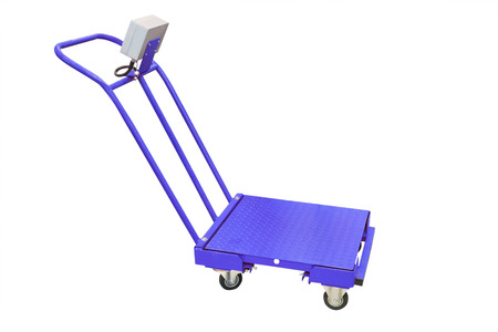 shoppings: Trolley stands in the midl of asphalt ground Stock Photo