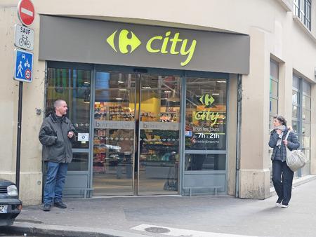 sidewalk sale: Paris, France, February 9, 2016: street shop in Paris, France Editorial
