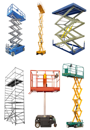 scaffold: The image of scaffold and lift under the white background Stock Photo