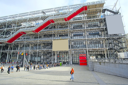croud: Paris, France, February 7, 2016: ticket-queue to Georges-Pompidou center in Paris, France