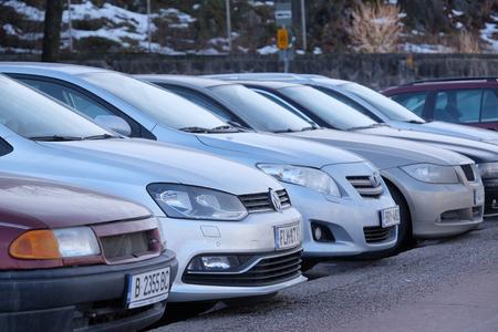 scandinavian peninsula: Helsinki, Finland - March, 14, 2016: the parking cars in Helsinki, Finland Stock Photo