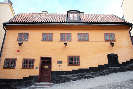 inhabited: Stockholm, Sweden - March, 19, 2016: ancient inhabited building in Stockholm, Sweden