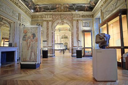 antiquity: Paris, France, February 10, 2016: interior of hall of antiquity in Louvre, Paris, France Editorial