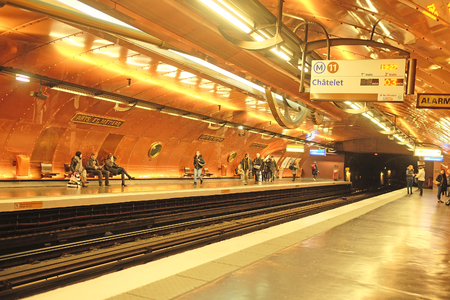 france station: Paris, France, February 12, 2016: interior of a metro station in Paris, France. Metro is very popular transport in Paris