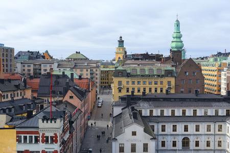 scandinavian peninsula: Stockholm, Sweden - March, 19, 2016: multystoried inhabited buildings in Stockholm, Sweden