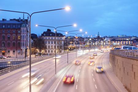 scandinavian peninsula: Stockholm, Sweden - March, 16, 2016: night traffic in a center of Stockholm, Sweden Editorial